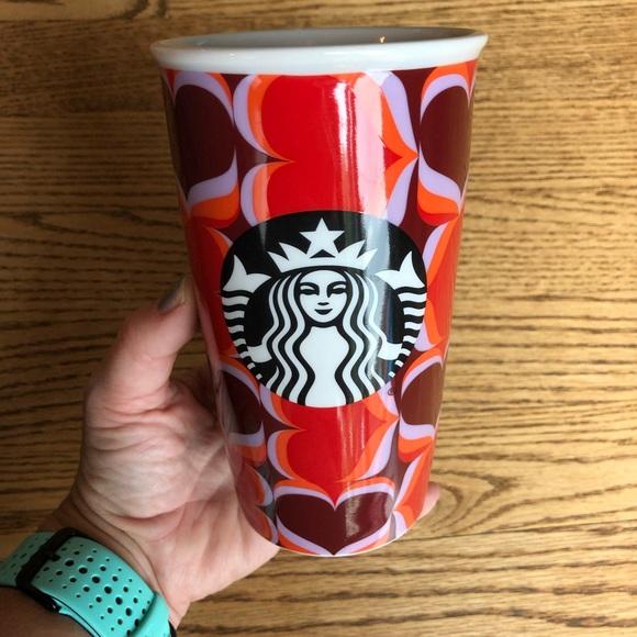 Starbucks Ceramic Travel Mug Valentine Hearts 2019